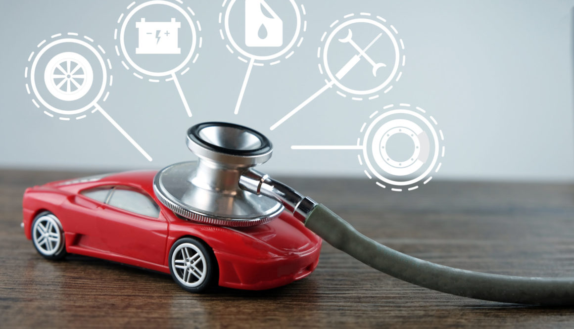 Stethoscope checking up the car with car service icon, Concept of car check-up, repair and maintenance..