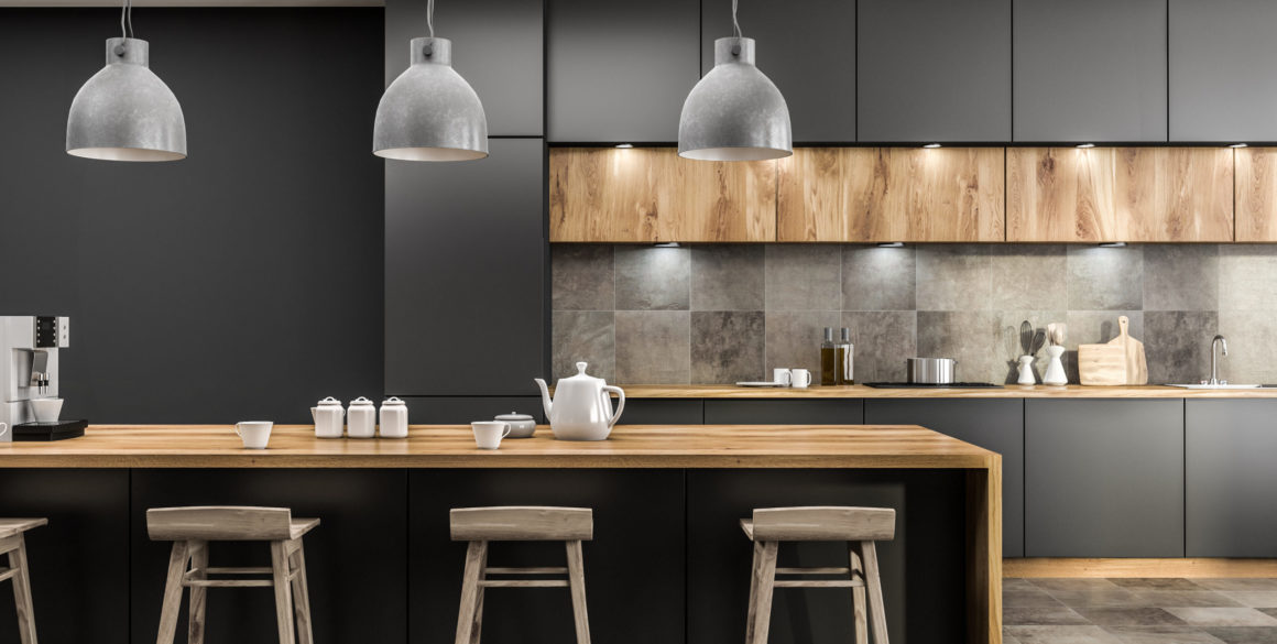 Gray kitchen with bar close up